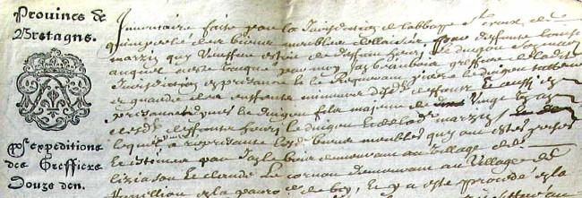 Extrait d'un des premiers actes produit sur papier timbré à Quimperlé.